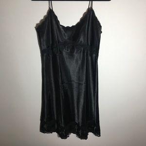 Victoria's Secret Black Silk and Lace Slip